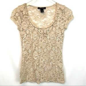 White House Black Market Cream Lace Top
